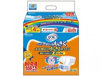 リフレ 簡単テープ止めタイプ 横モレ防止 SSサイズ 34枚×3袋入(約4回分吸収)【ケース販売】