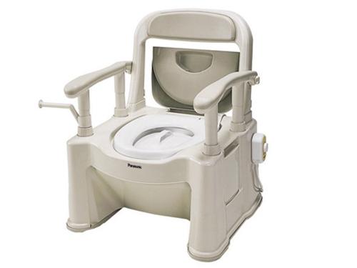 樹脂製ポータブルトイレ 座楽 背もたれ型SP <あたたかタイプ>