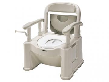 樹脂製ポータブルトイレ 座楽 背もたれ型SP <小口径便座タイプ>