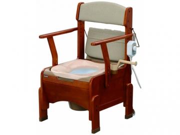 【在庫処分品】 家具調ポータブルトイレ 〈座楽〉アウポット コンパクト <あたたか便座タイプ>