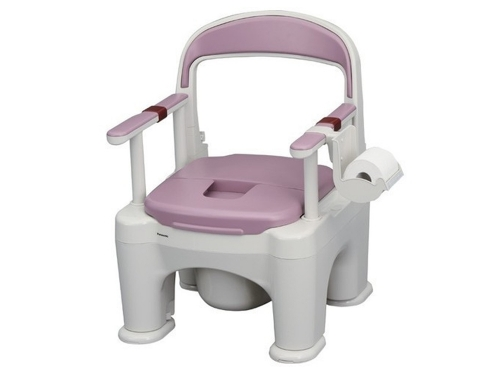 樹脂製ポータブルトイレ 〈座楽〉 ラフィーネ <長穴プラスチック便座> (前後傾斜脚付き)