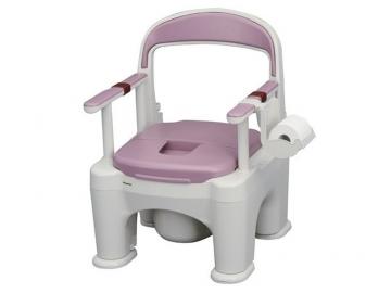 ポータブルトイレ<座楽>ラフィーネ(脱臭長穴プラスチック便座・前後傾斜脚付)