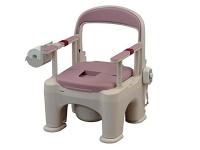 樹脂製ポータブルトイレ 〈座楽〉 ラフィーネ <脱臭あたたか便座> (前後傾斜脚付き)