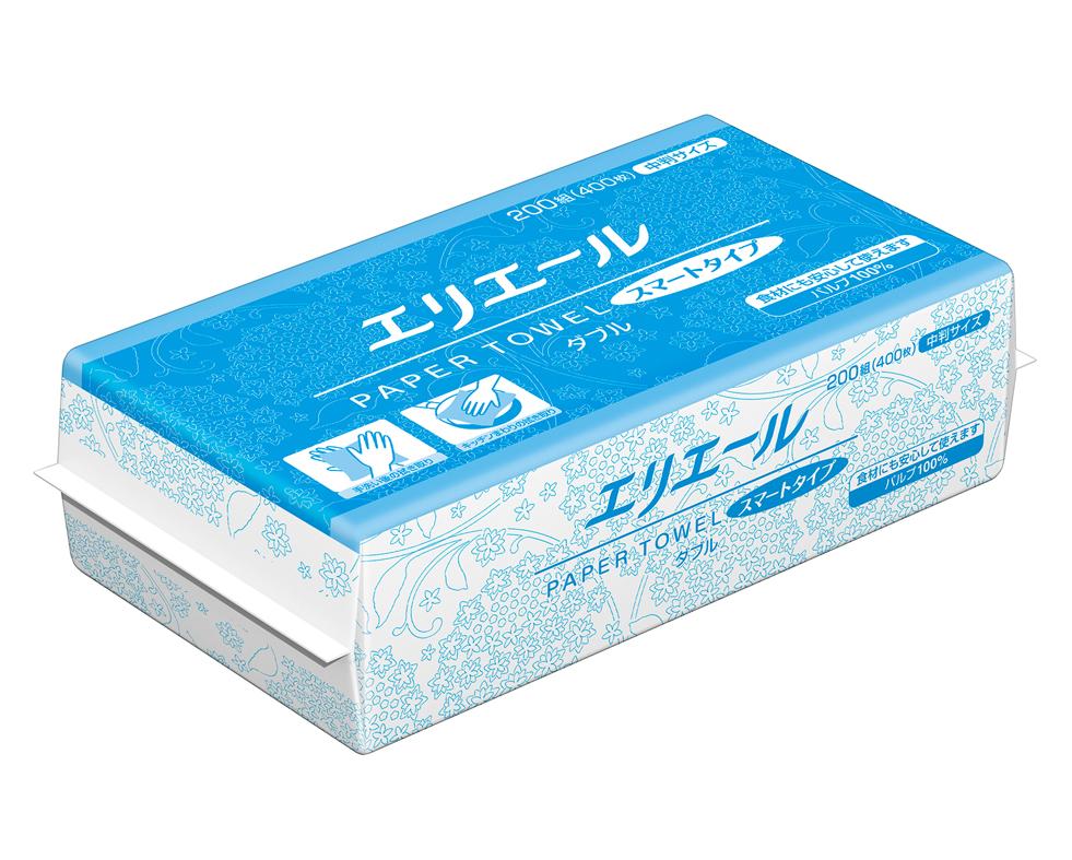 【おすすめ品】ペーパータオル スマート ダブル中判 200×35