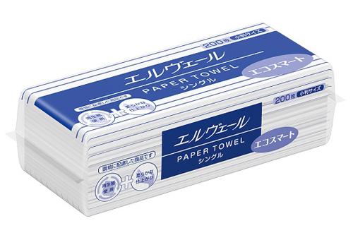 エルヴェール ペーパータオル エコスマート シングル300枚×42パック(小判シングル)