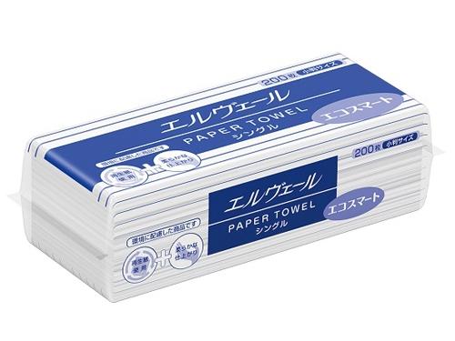 エルヴェール ペーパータオル エコスマート シングル 200枚×42パック(小判シングル)