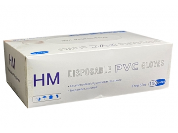 ディスポーザブルPVCグローブ 100枚入(フリーサイズ)粉なしプラスチック手袋