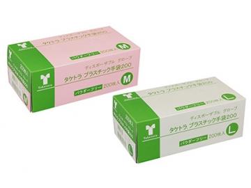 【送料無料】タケトラ プラスチック手袋200枚 粉なしプラスチック手袋