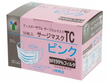 【女性・お子様むけ】サージマスクTC 50枚入/ピンク(レベル3フィルター)