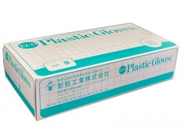 【送料無料】ECOプラスチック手袋 100枚入×10箱 粉付きプラスチック手袋