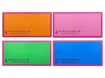 ニトリルグローブ3P/ピンク 200枚入×10箱  粉なしニトリル手袋