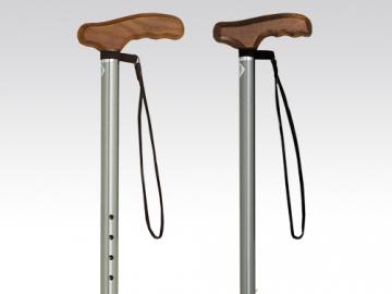 アルミ製プッシュボタン式T字杖 (木製グリップ)
