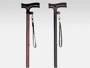 アルミ製伸縮杖 木製グリップ