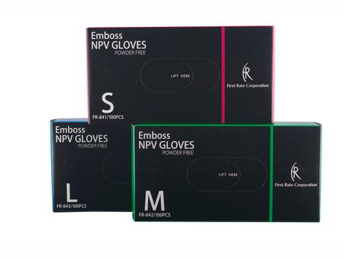 エンボスNPVグローブ 100枚入 粉なしプラスチック手袋
