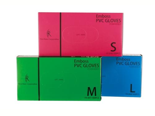 エンボスPVCグローブ 100枚入 粉付きプラスチック手袋