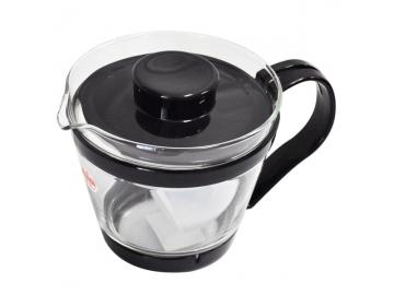 耐熱ガラス製 レンジのポット 茶器 400ml ブラック