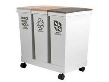 資源ゴミ横型3分別ワゴン 20L×3 ベージュ